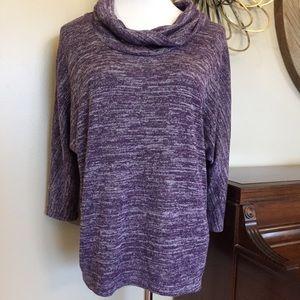 Dressbarn Size 2X Purple Cowl Neck Sparkly Sweater